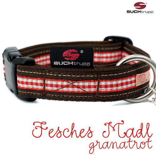 WIESN-Hundehalsband FESCHES MADL medium granatrot