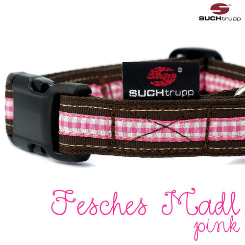 WIESN-Hundehalsband FESCHES MADL medium pink