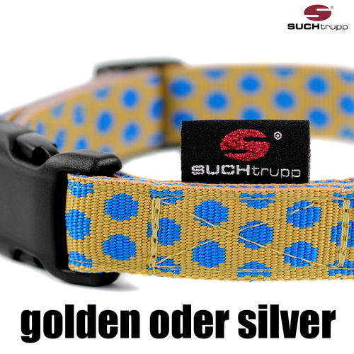 Hundehalsband DOTS BEIGE-ROYALBLUE medium, Hundehalsbänder