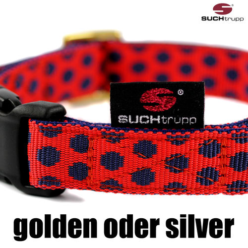 Hundehalsband DOTS RED-DARKBLUE medium, Hundehalsbänder