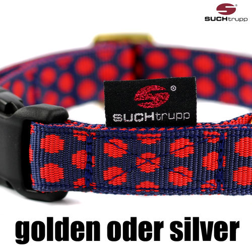 Hundehalsband DOTS DARKBLUE-RED medium, Hundehalsbänder