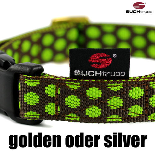 Hundehalsband DOTS BROWN-LIMEGREEN medium, Hundehalsbänder