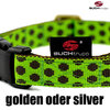 Hundehalsband DOTS LIMEGREEN-BROWN  medium, Hundehalsbänder