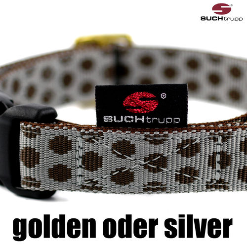 Hundehalsband DOTS GREY-BROWN  medium, Hundehalsbänder