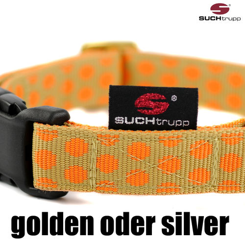 Hundehalsband DOTS BEIGE-ORANGE medium, Hundehalsbänder