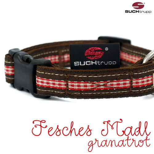 WIESN-Hundehalsband FESCHES MADL small granatrot