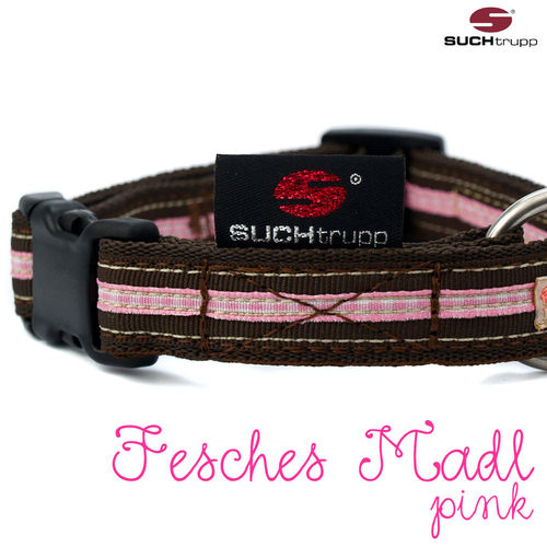 WIESN-Hundehalsband FESCHES MADL small rosa-pink