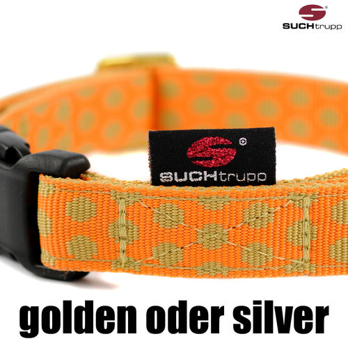 Hundehalsband DOTS ORANGE-BEIGE medium, Hundehalsbänder