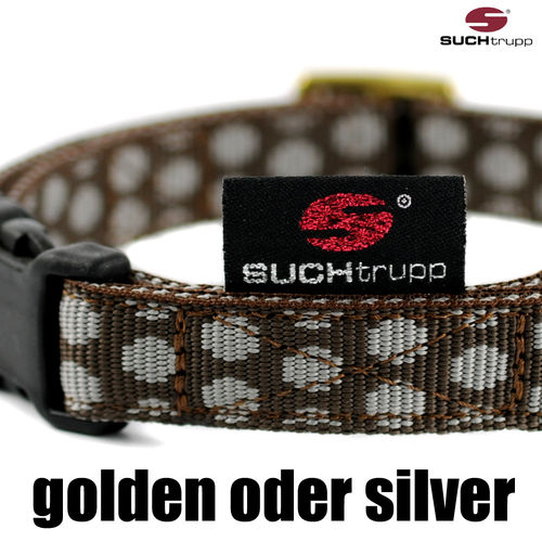 Hundehalsband DOTS BROWN-GREY small, Hundehalsbänder