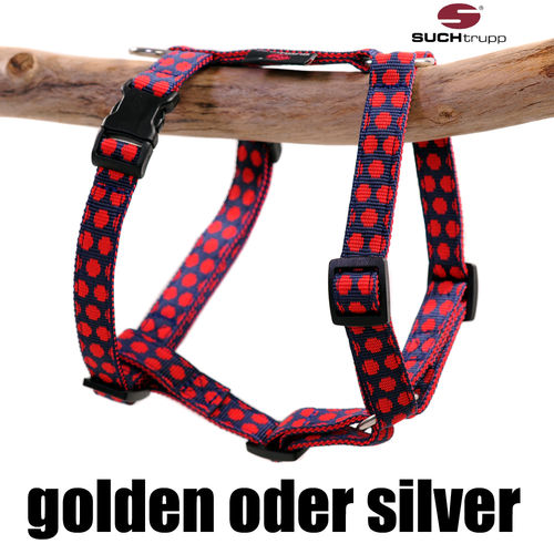 Hundegeschirr, Brustgeschirr DOTS DARKBLUE-RED small