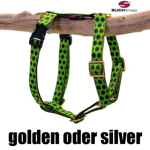 Hundegeschirr, Brustgeschirr DOTS LIMEGREEN-BROWN small