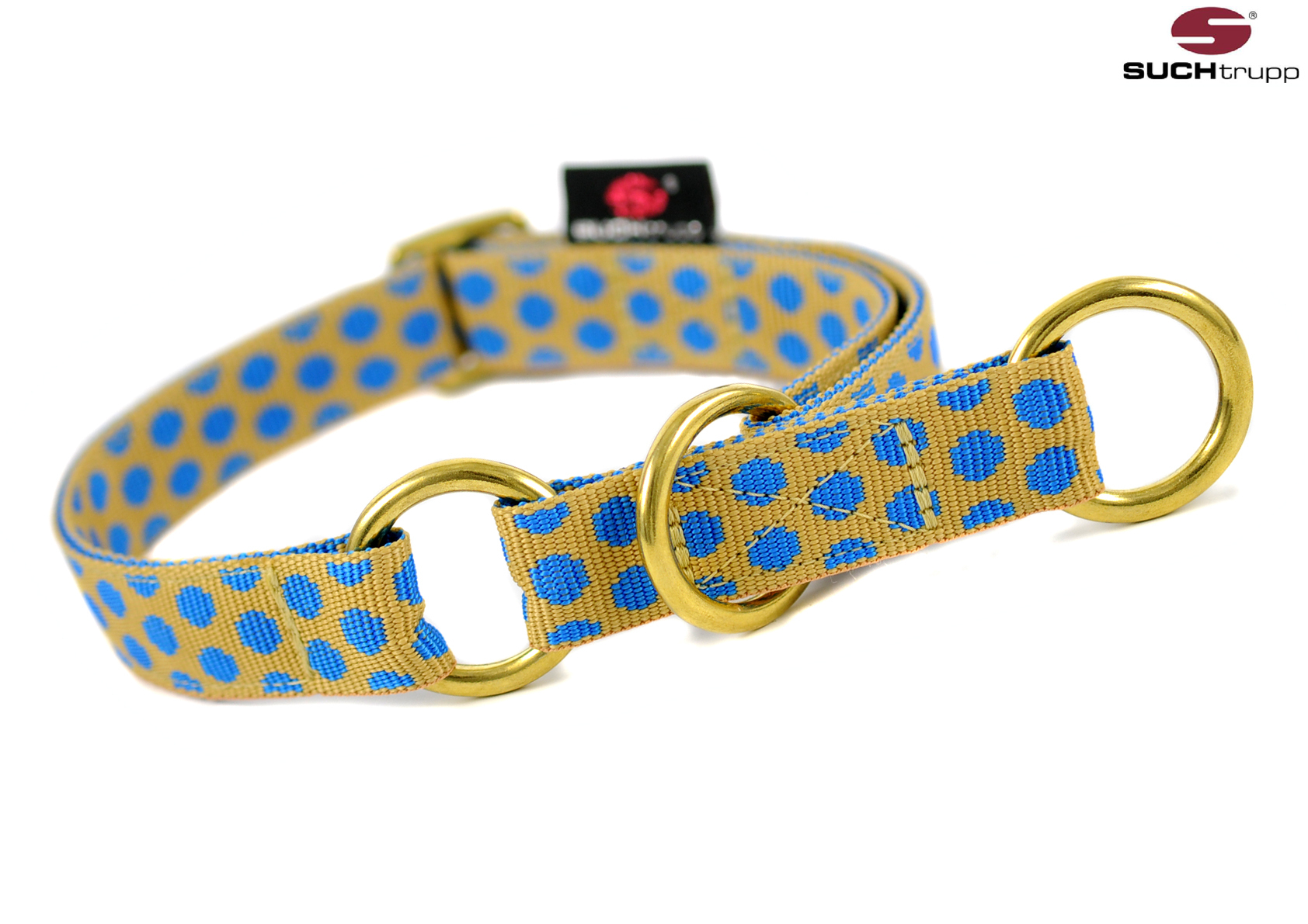 DOTS_BEIGE-ROYALBLUE_GOLDEN_Schlupfhalsbaender_medium,_SUCHtrupp,_Schlupfhalsband,_Stopp-Halsbaender,_martingale_collar_medium,_oblique